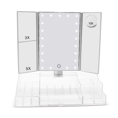 SINGLE SIDE MIRROR WITH LIGHT, TOUCH SENSOR LIGHTED MIRROR WITH ORGANIZER